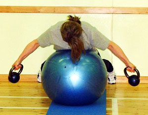 Su Pike kettlebell back rehab swiss ball