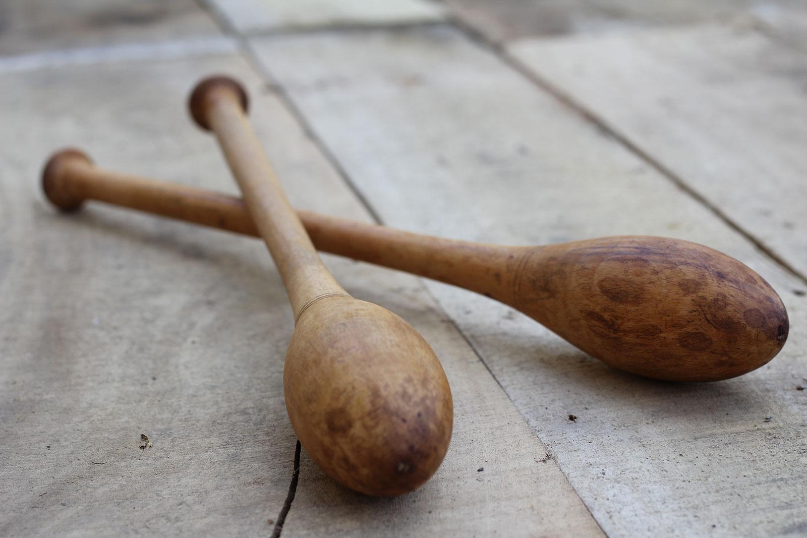 Antique teardrop Indian clubs