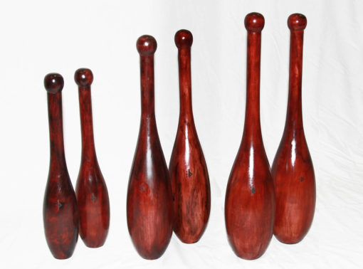 small, medium and large Spalding ES Indian clubs