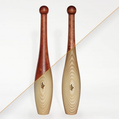 Light Indian clubs in choice of wood